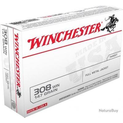 Lot de 10 Boites de 20 Cartouches USA 308 Win Winchester FMJ 147 Grains