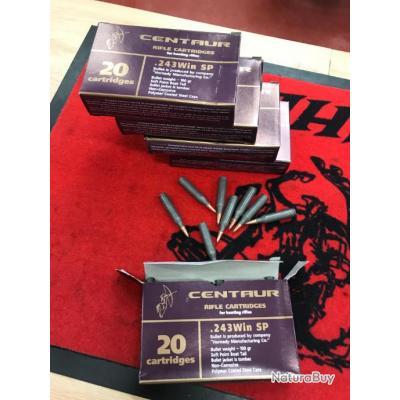 PROMO lot de 5 boites de balles Centaur cal.243 Win 100gr