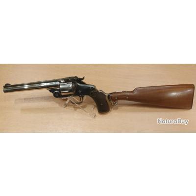 Très beau revolver Smith & Wesson Numero 3,avec crosse d'épaule, cal .44 Russian