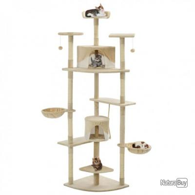 Arbre à chat avec griffoirs en sisal 203 cm Beige et Blanc 63518