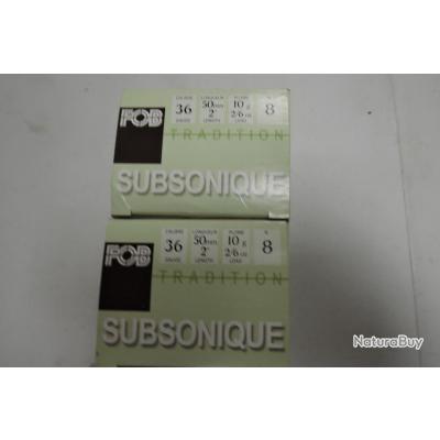 Cartouches de 12mm Subsonique FOB Plomb n°8 par 2 boites de 25