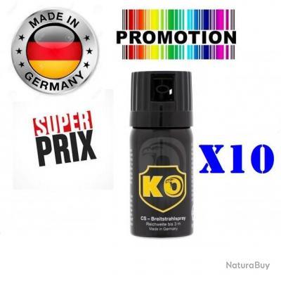 Promo!! 10 x Bombe Lacrymogène GAZ CS concentré 40ml Made In Allemagne