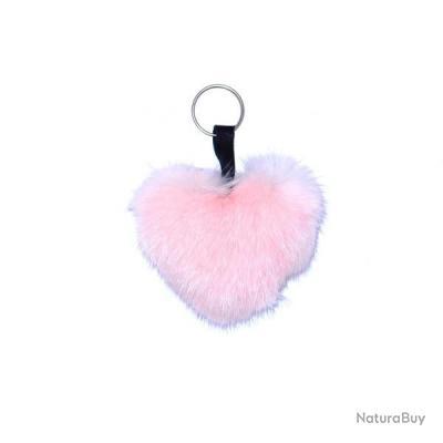 Porte-clés coeur en Vison - Rose