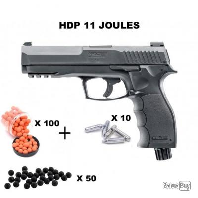 PACK Pistolet HDP50 UMAREX CAL .50 11 JOULES  - HDP50 + 100 billes oranges + 50 metal + 10 co2