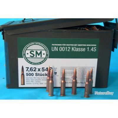 500 Munitions Balles  7.62x54R Surplus Chine en caisse M2A1 / Noyau acier doux /  CIP