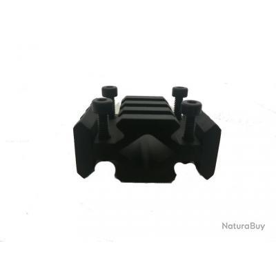 Adaptateur sur canon rail Picatinny X 4, Longueur 35 mm pour Lunettes, Lasers, Bipied, Lampe