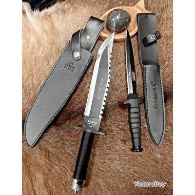 Collectionneur SET DE 2 Couteaux Rambo avec étui en cuir  avec accessoires de survie REF RB2