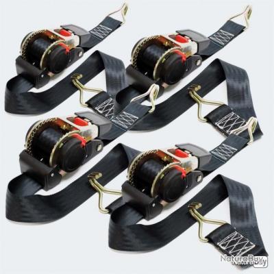 4x Sangles d'arrimage automatique 1,8x50mm 750daN PES pour le transport