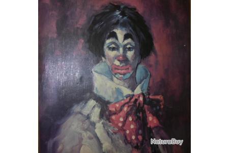 Ancien Tableau Huile Sur Toile Portrait De Clown Triste Impressionnisme Signe Fabiani Huiles 6750230
