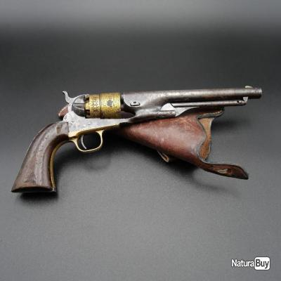 Authentique révolver Colt Army 1860 barillet à dorures