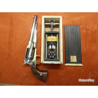 Presse nouveau modèle pour chargement barillets revolvers à percussion calibre 36 et 44  en coffret.