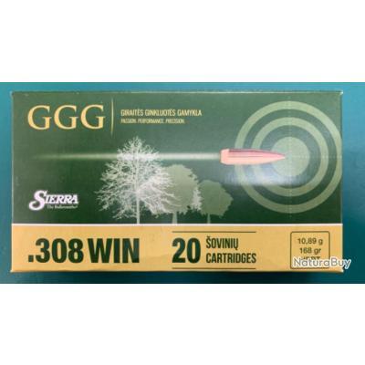 Munition ggg 308win 175gr hpbt ogive sierrra par 20