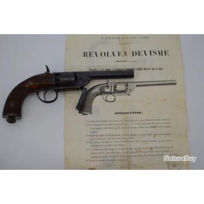 """REVOLVER DEVISME A PERCUSSION CALIBRE 31"""" vers 1855 - France Belgique XIXè France Très bon  XIX eme"""