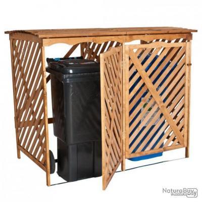 Abri Poubelles Conteneurs double en bois - Capacité de 240 litres