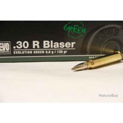 Lot de 20 Balles RWS calibre 30 R Blaser EVO Green