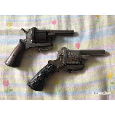 2 Revolvers a broche type lefaucheux cal 7mm