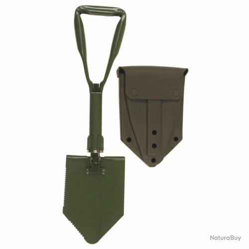Bw Bundeswehr Pelle Pliante Avec Original Sac Bêche de Champ Olive Avec Étui
