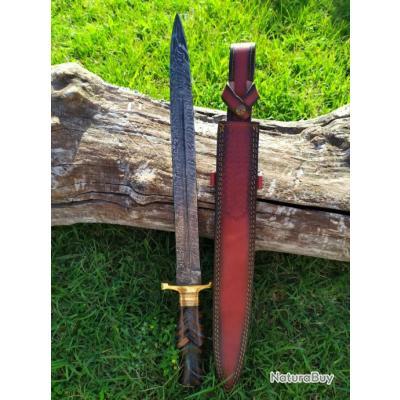 Belle dague lame damas 256 Couches manche Bois fab. artisanale étui cuir 56 cm lame 39 cm 5 mm épais
