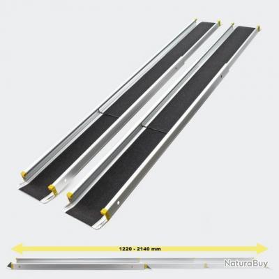 2 x Rampes télescopiques en Alu Antidérapante avec barres latérales et charge max de 270 k