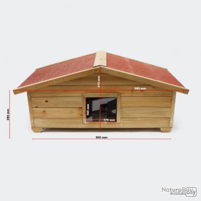 PN01-Niche chat ou autre petits animaux en bois avec isolation et Portillon 92X52X36CM