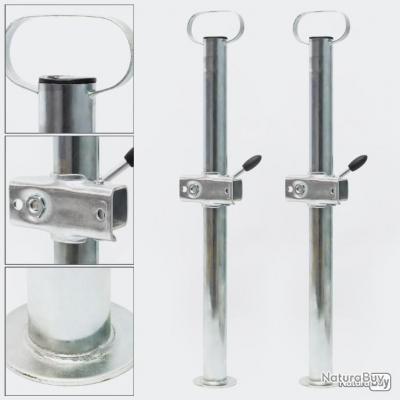 2x Béquilles pour Remorque et Support de Fixation 700 mm