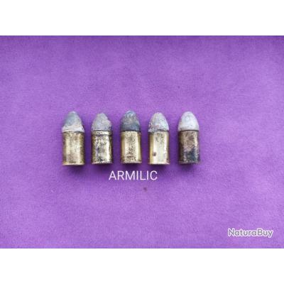 Lot de 5 cartouches 11mm73 d'époque pour revolver 1873. Collection.