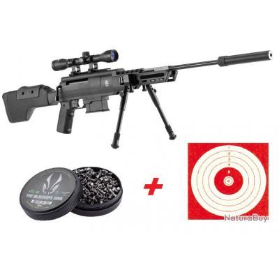 Carabine 19,9J Black Ops Tactical cal. 4,5 mm + 100 Cibles + 500 Plombs- 3/4 Fois sans frais