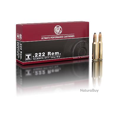 1 Boite de Munitions de grande chasse RWS en calibre .222 REM