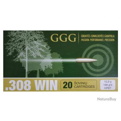 20 CARTOUCHES GGG HPBT MATCH 168GR CALIBRE 308W