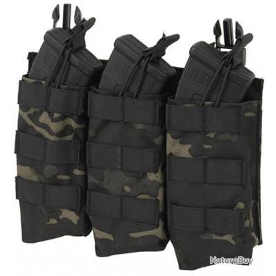 POCHETTE / PORTE CHARGEUR AK47 AKM TRIPLE 3 POCHES MULTICAM NOIR FIXATION RAPIDE POUR GILET TACTIQUE