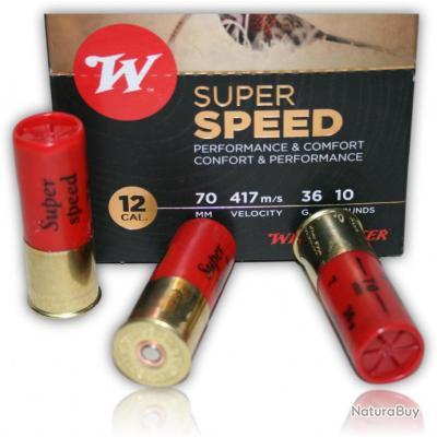 CARTOUCHE WINCHESTER SUPER SPEED BOURRE JUPE 36GR PLOMBS DE 7 CAL 12/70 X10