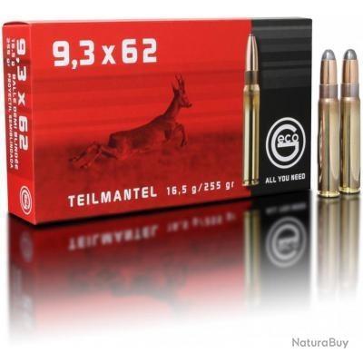 Munitions Geco cal.9,3x62 demi blindée Teil Mantel 16.5g 255gr PAR 20