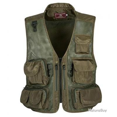 !!! LIVRAISON OFFERTE !!! Gilet Camouflage multipoches chasse pêche randonnée réf 677