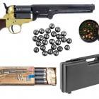 Pack Prèt à Tirer! Revolver Pietta 1851 Navy Millenium US Martial Laiton Calibre 44