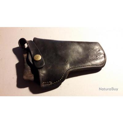 Etuis en cuir noir pour revolver canon de 4 pouces