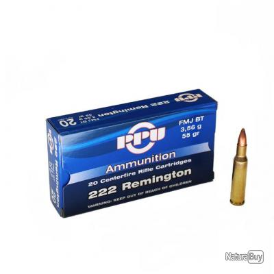 20 Cartouches Partizan Calibre 222 Remington 55gr - FMJ