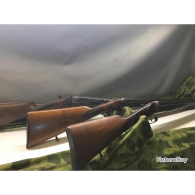 Lot de 3 fusils à restaurer,1cal.12 et 2 cal 16enchères à 1euro,sans prix de réserve