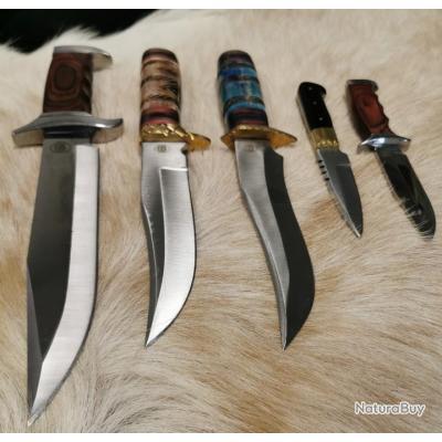 Lot de 5 couteaux type bowie Chipaway Cutlery USA Modèles sur photos avec descriptif. -Artisanal- CP