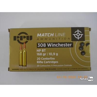 CARTOUCHES 308W  PPU MATCH LINE 168 grains hpbt