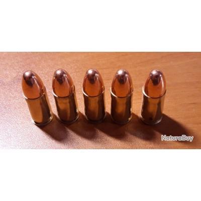 5 x Cartouche 9mm neutralisée étuis Nickelés pour collection ou manipulation