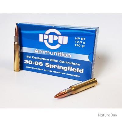 20 Cartouches PPU Partizan Calibre 30-06 Springfield 190gr HP BT
