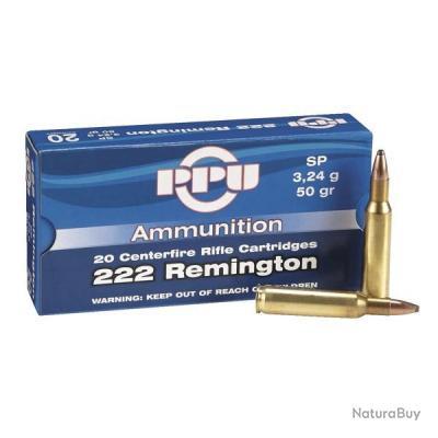 100 Cartouches PPU Partizan Calibre 222 Remington 50gr - SP Soft Point
