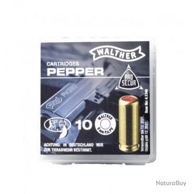 Boite de 10 Cartouches Gaz Poivre 9mm Walther pour Pistolets à Blanc