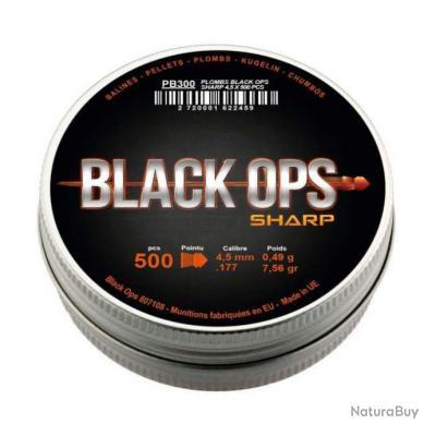 Boîte de 500 plombs Black Ops Sharp à tête pointue - Cal. 4.5