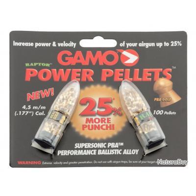 Plombs 4.5mm Gamo Raptor x100 - 0.33g - Velocité +25%