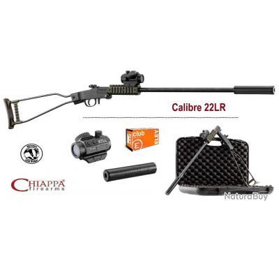 Pack Carabine Chiappa Little Badger pliante Verte Cal  22 LR mono-coup avec point rouge