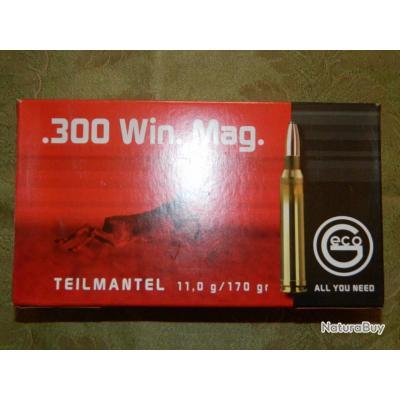 Balles calibre 300 Win Mag GECO 170 gr Teilmantel