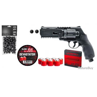 Pack Defense HDR50 T4E 11J + 50 Balles Caoutchouc + 24 Balles Metalliques Razorgun + 5 CO2 Umarex