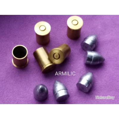 Kit 11mm73. Étuis amorcés et ogives. Rechargement Poudre noire. 5 balles et 5 douilles.