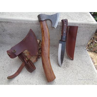 Hache Buchcraft Tomahawk + Couteau Lame Acier Carbone Manche Bois Etui Cuir Fabrication Artisanale